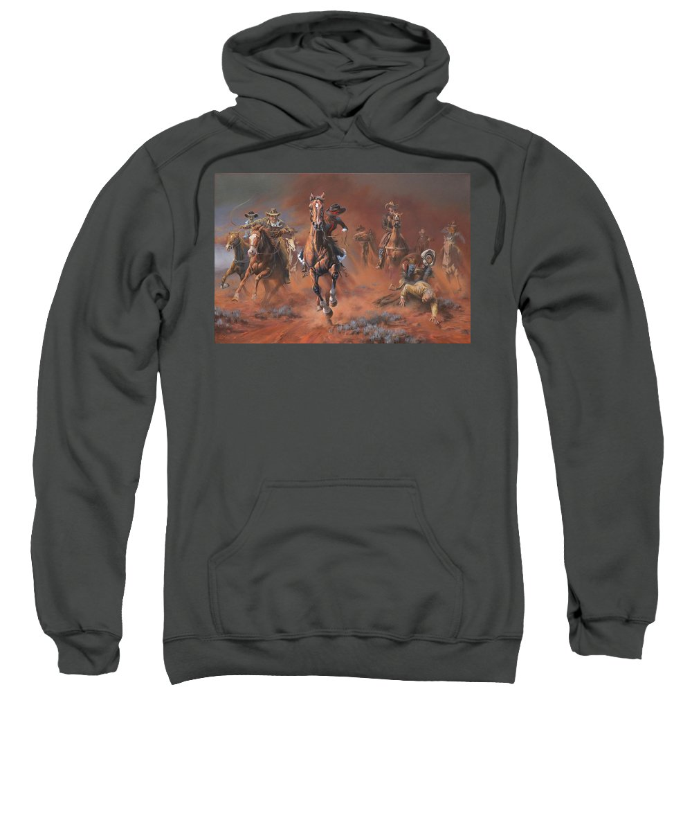 Racing Sweatshirt featuring the painting Catch Me If You Can by Mia DeLode