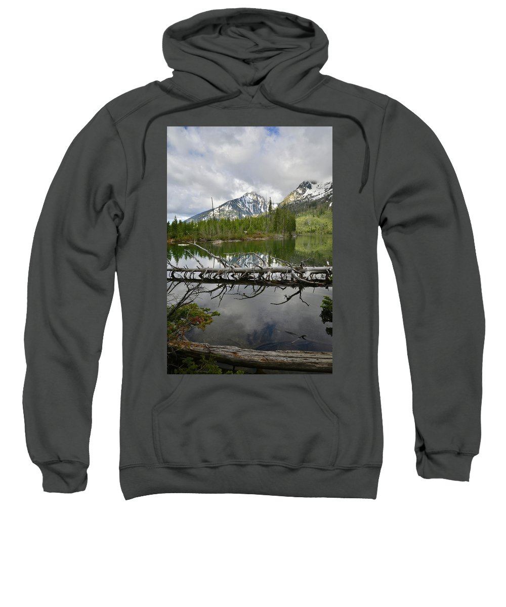 Grand Teton National Park Sweatshirt featuring the photograph Cathedral Group Reflection On String Lake by Ray Mathis