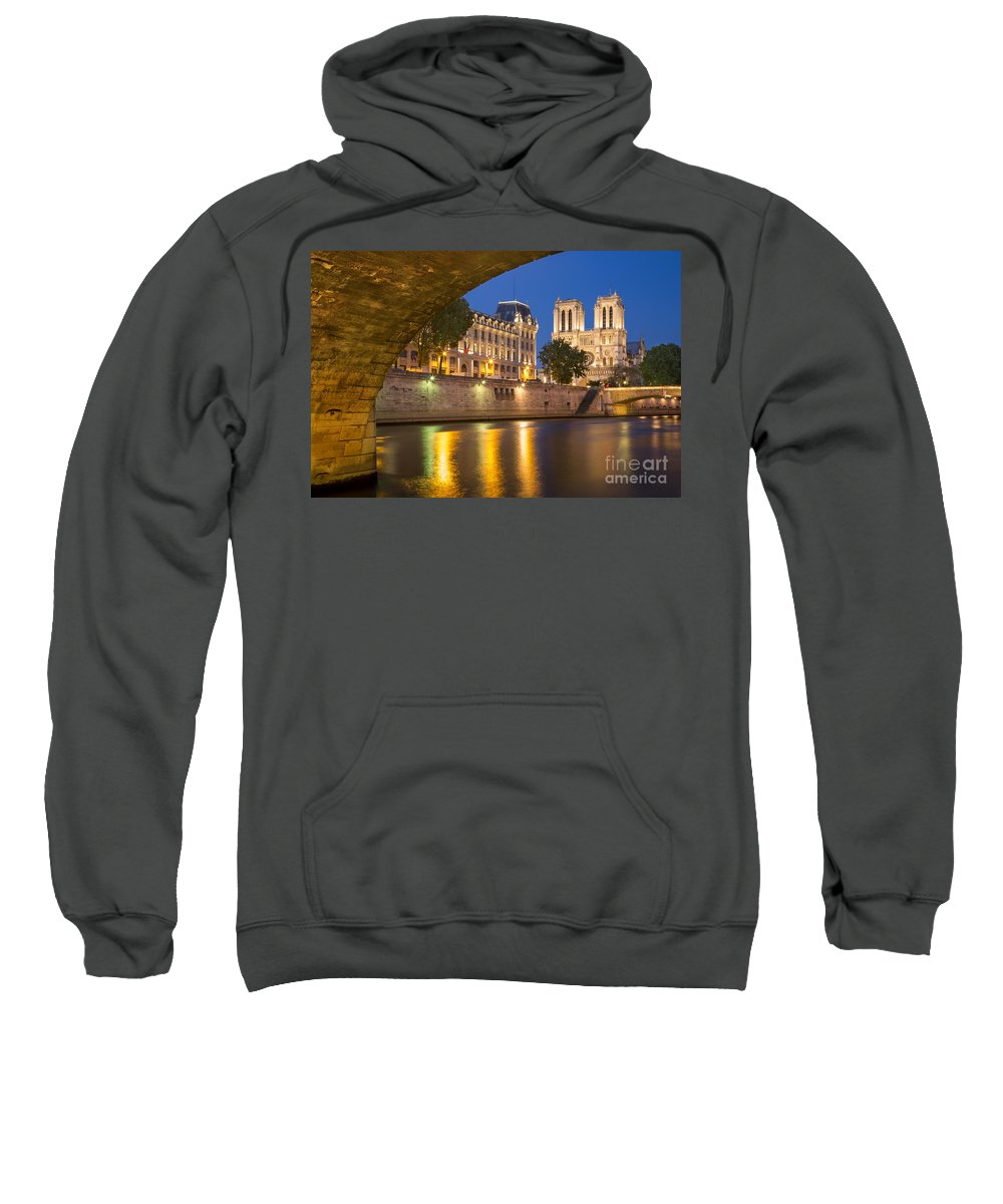 Arch Sweatshirt featuring the photograph Cathedral Notre Dame And River Seine - Paris by Brian Jannsen