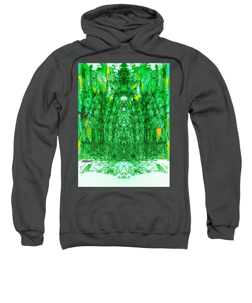 Cathedral Sweatshirt featuring the digital art Cathedral Of Trees by Seth Weaver