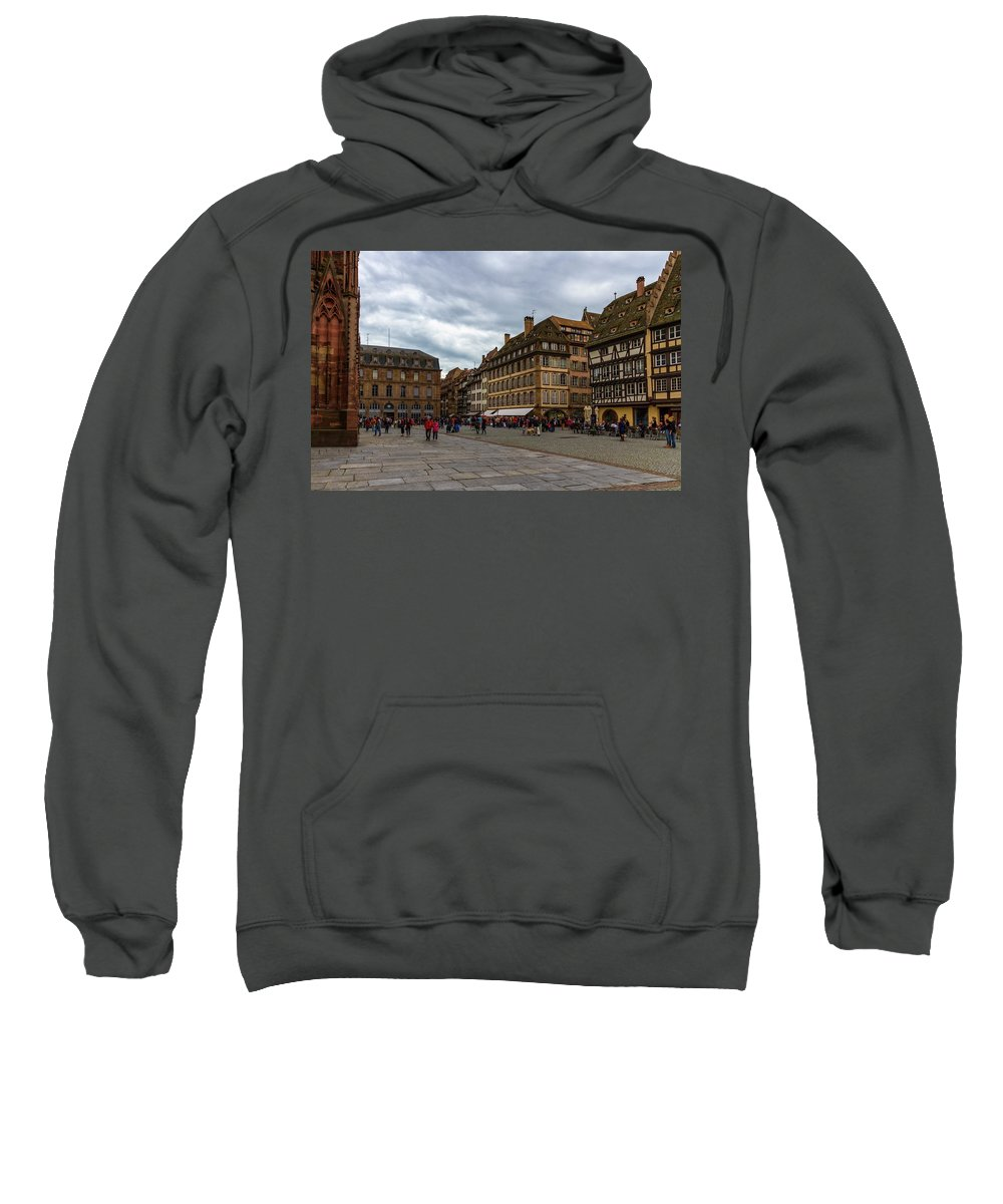 Cathedral Sweatshirt featuring the photograph Cathedrale Notre-dame Or Our Lady Place, Strasbourg, France by Elenarts - Elena Duvernay photo