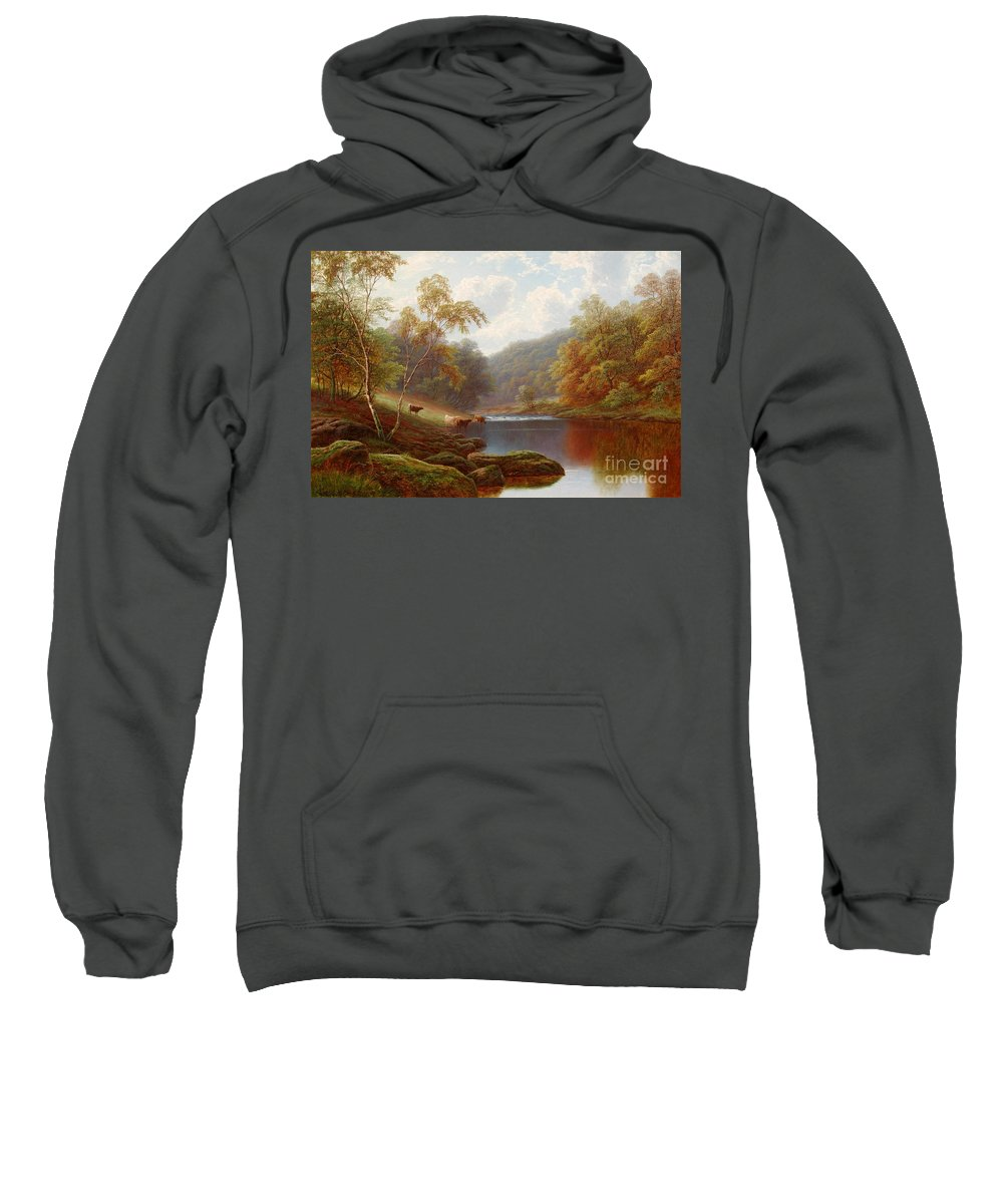 William Mellor Sweatshirt featuring the painting Cattle Watering Along The River Wharfe by Celestial Images