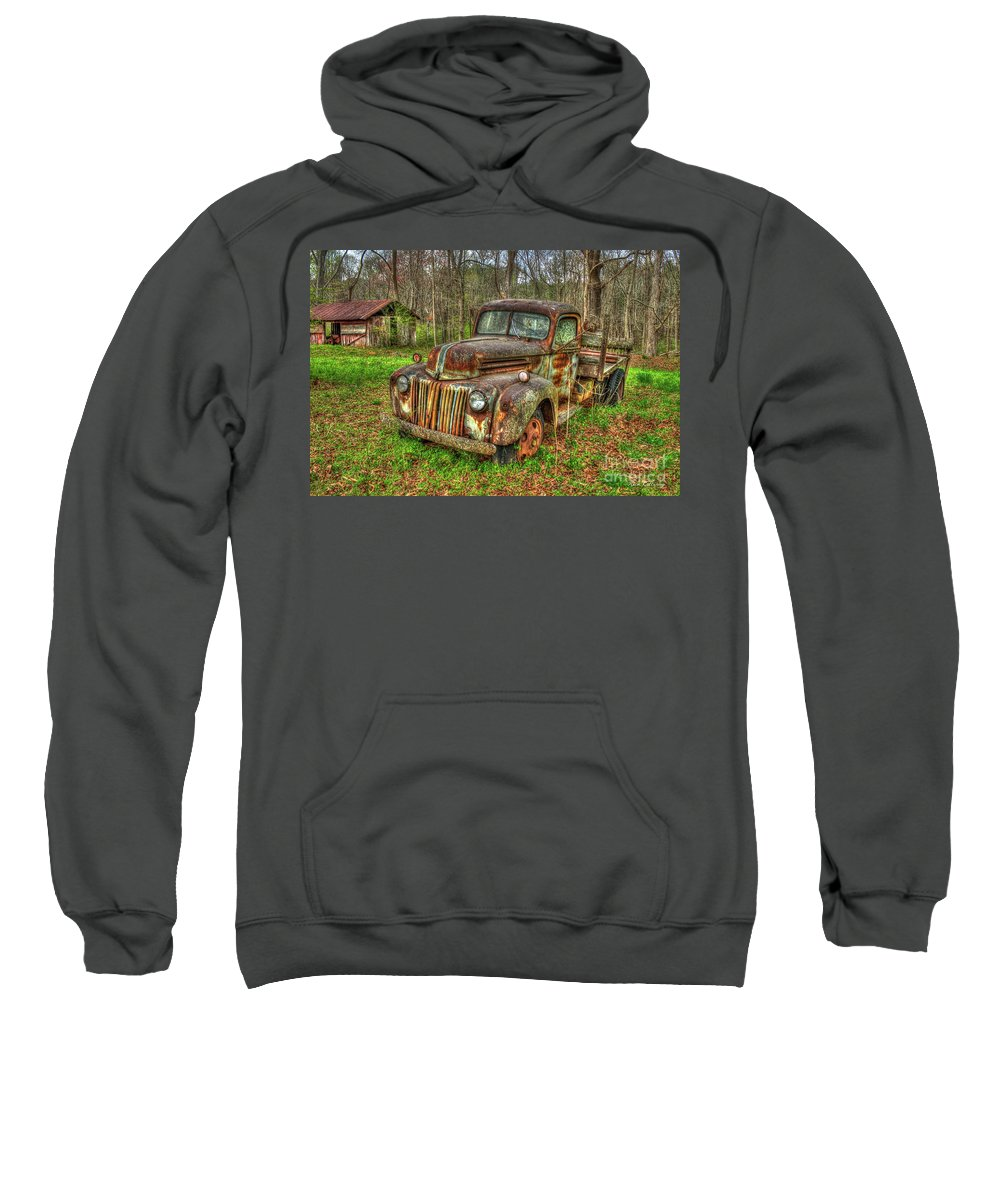 Reid Callaway 1947 Ford Stakebed Pickup Truck Sweatshirt featuring the photograph Caught Behind 1947 Ford Stakebed Pickup Truck Art by Reid Callaway
