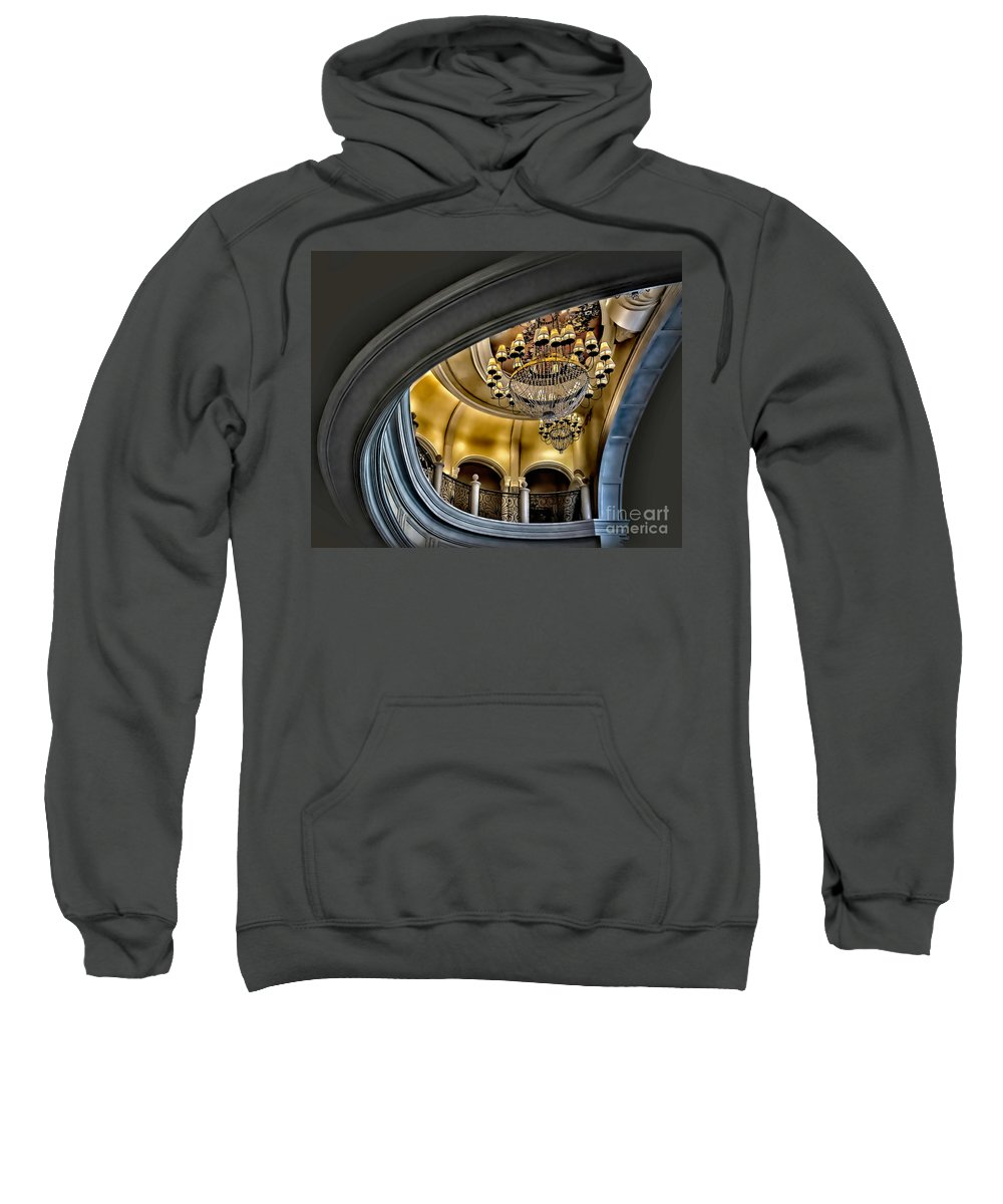 Las Vegas Sweatshirt featuring the photograph Ceiling And Chandelier In Bellagio by Walt Foegelle