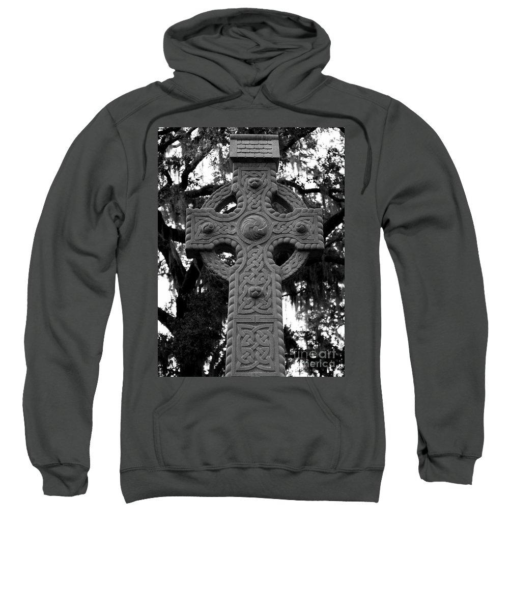 Savannah Sweatshirt featuring the photograph Celtic Cross In Emmet Park by Carol Groenen