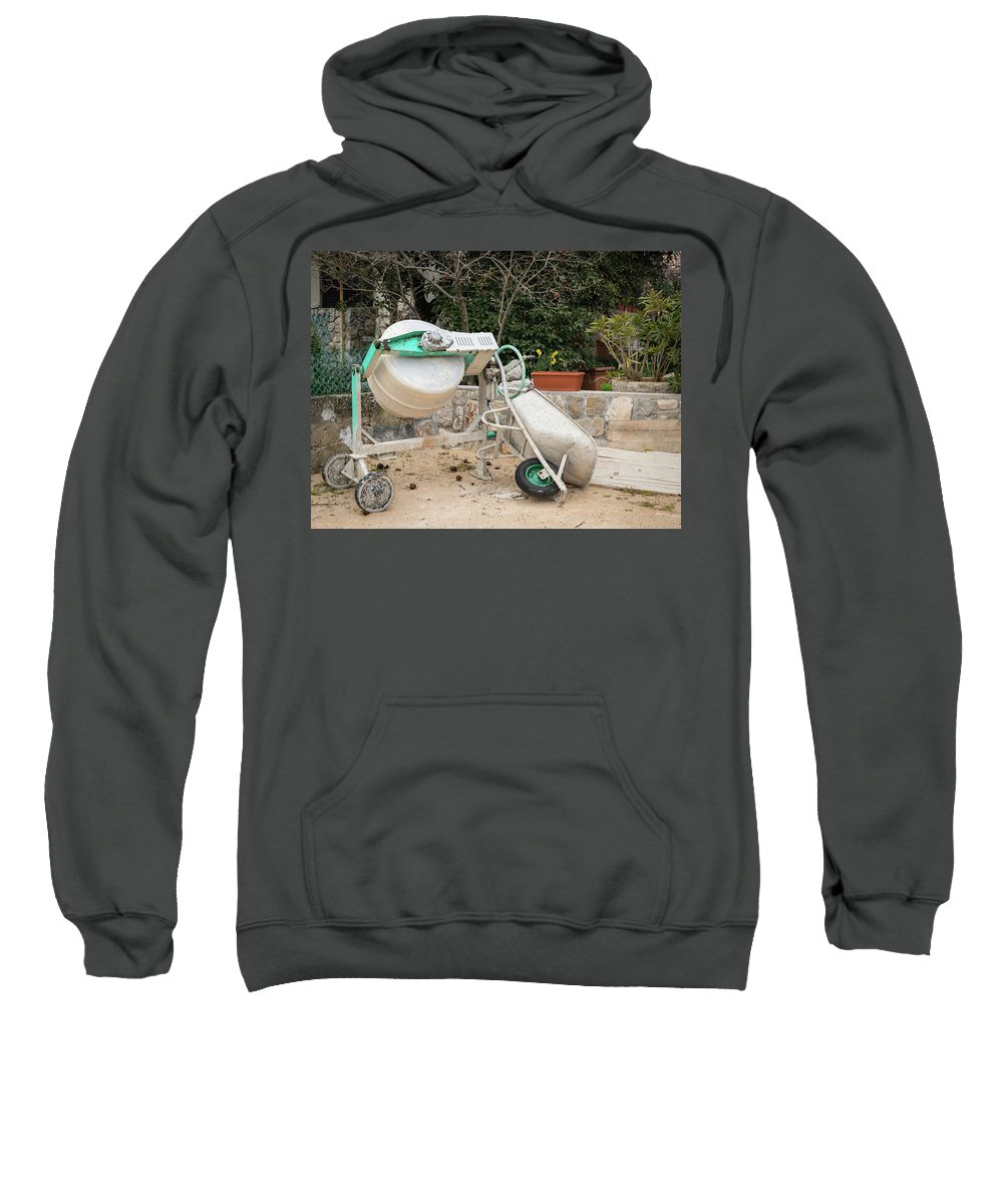 Manual Sweatshirt featuring the photograph Cement Mixer And A Wheelbarrow In Croatia by Stefan Rotter