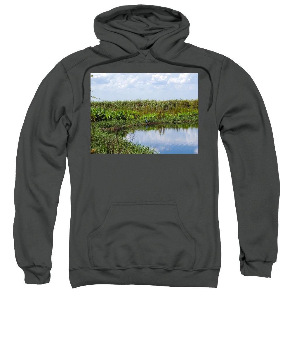 Florida; River; St; Johns; Saint; John; Flow; Flows; North; South D;; Flowing; Current; Back Sweatshirt featuring the photograph Central Florida Backwater by Allan Hughes