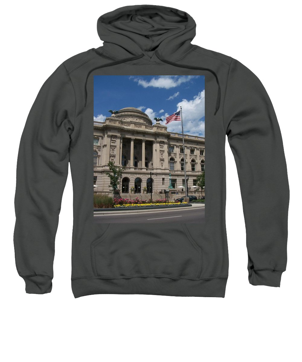 Central Library Sweatshirt featuring the photograph Central Library Milwaukee by Anita Burgermeister
