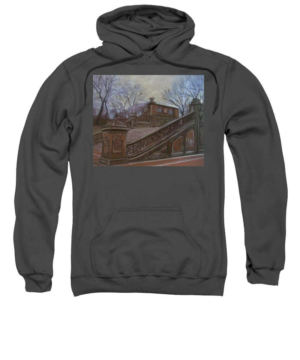 Central Park Sweatshirt featuring the painting Central Park Bethesda Staircase by Anita Burgermeister