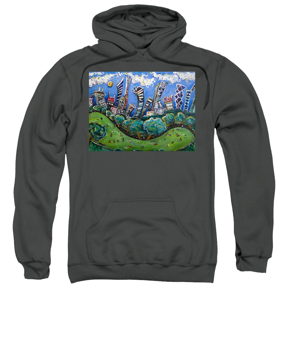 New York City Sweatshirt featuring the painting Central Park South by Jason Gluskin