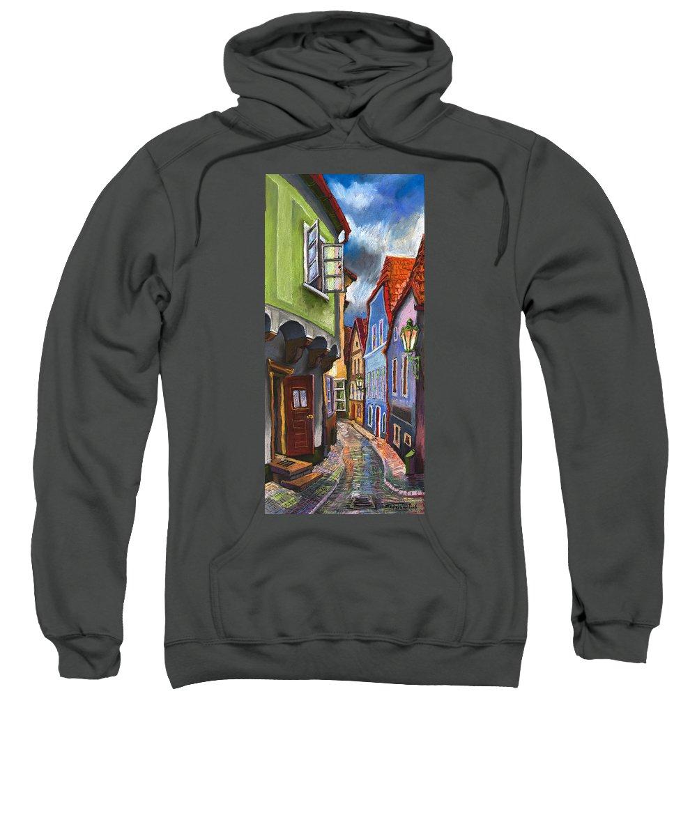 Pastel Chesky Krumlov Old Street Architectur Sweatshirt featuring the painting Cesky Krumlov Old Street 1 by Yuriy Shevchuk