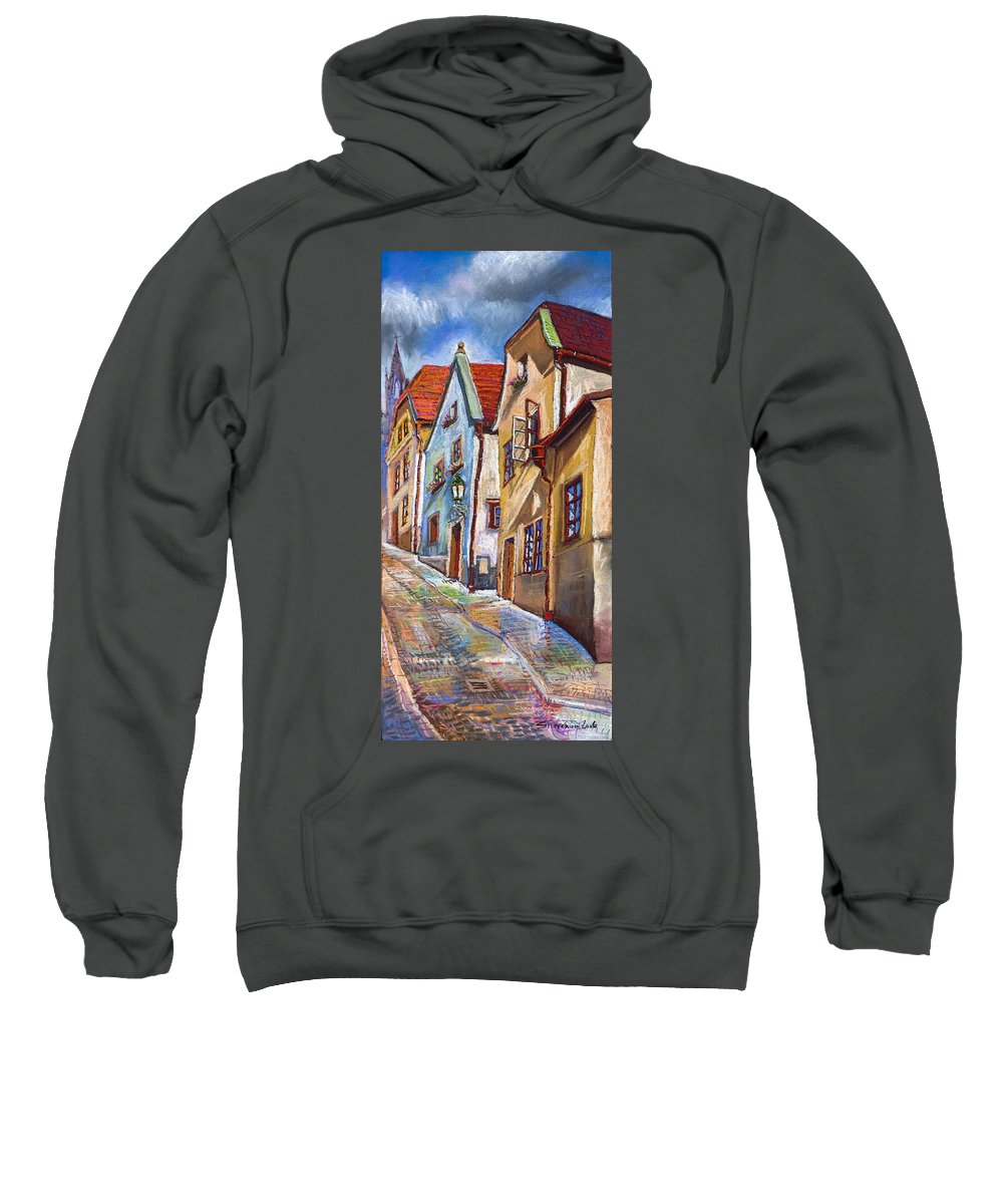 Pastel Chesky Krumlov Old Street Architectur Sweatshirt featuring the painting Cesky Krumlov Old Street 2 by Yuriy Shevchuk