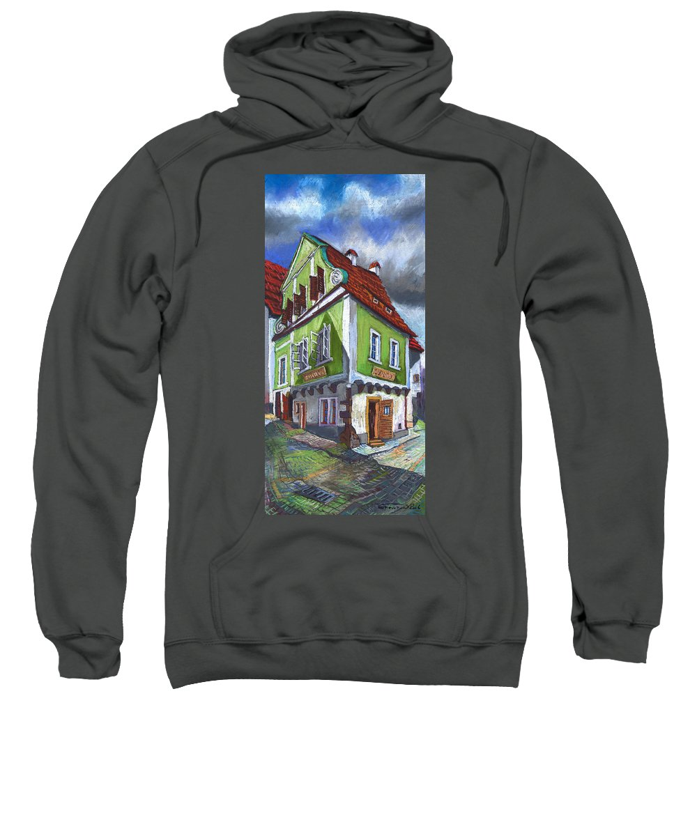 Pastel Chesky Krumlov Old Street Cityscape Realism Architectur Sweatshirt featuring the painting Cesky Krumlov Old Street 3 by Yuriy Shevchuk
