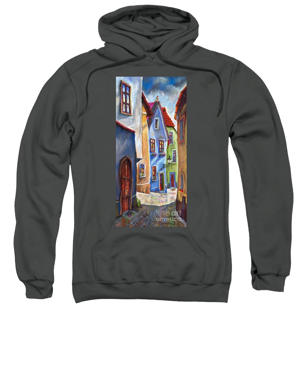 Cityscape Sweatshirt featuring the painting Cesky Krumlov Old Street by Yuriy Shevchuk
