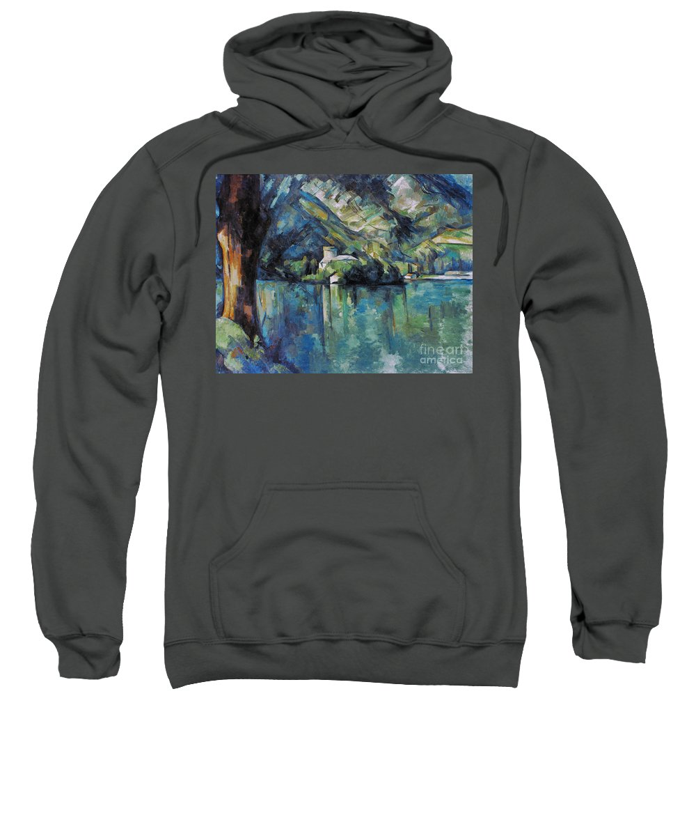 1896 Sweatshirt featuring the photograph Cezanne: Annecy Lake, 1896 by Granger