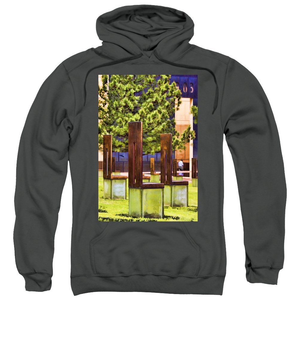 Oklahoma Sweatshirt featuring the photograph Chairs At The Gate by Ricky Barnard