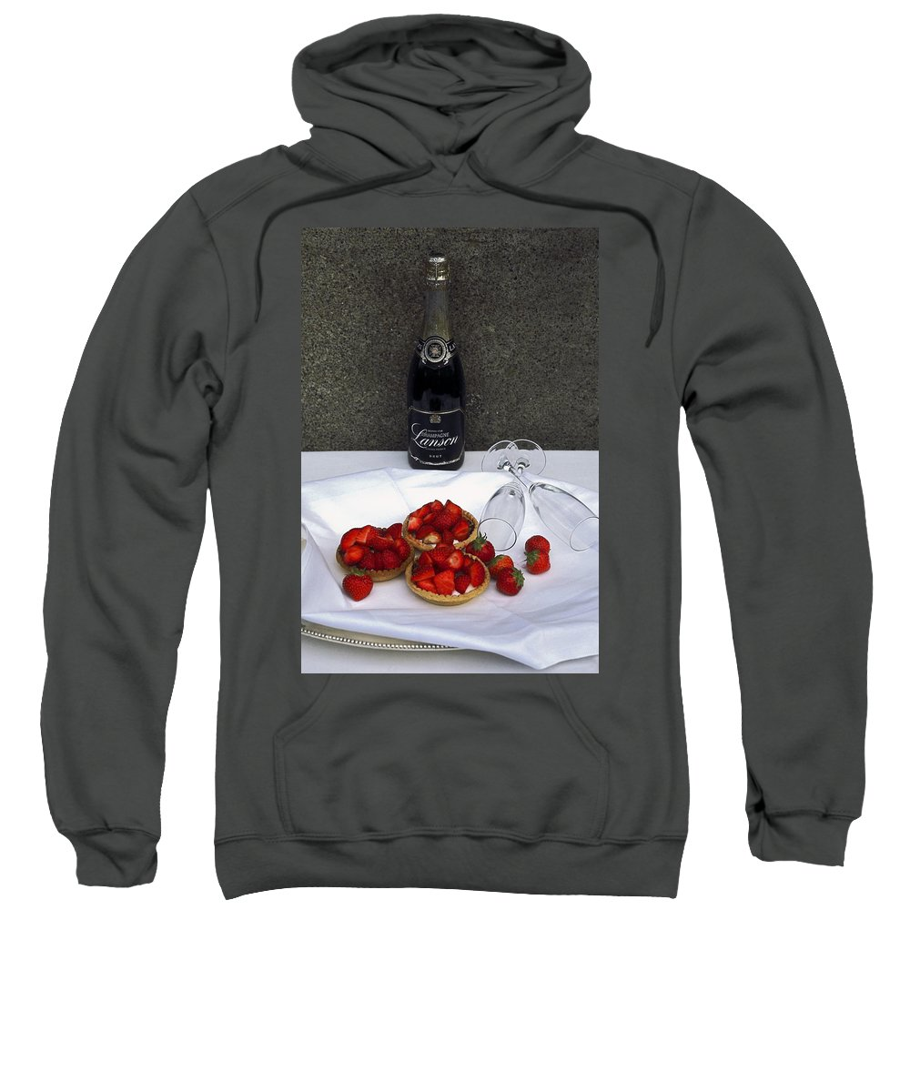 Brut Champagne Bottle Sweatshirt featuring the photograph Champagne Bottle With Strawberry Tarts And 2 Glasses by Sally Weigand