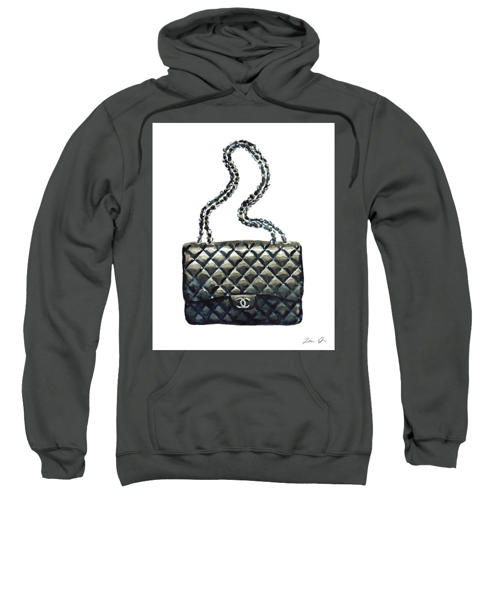 966a96fe0c8588 Chanel Handbag Sweatshirt featuring the painting Chanel Quilted Handbag  Classic Watercolor Fashion Illustration Coco Quotes by