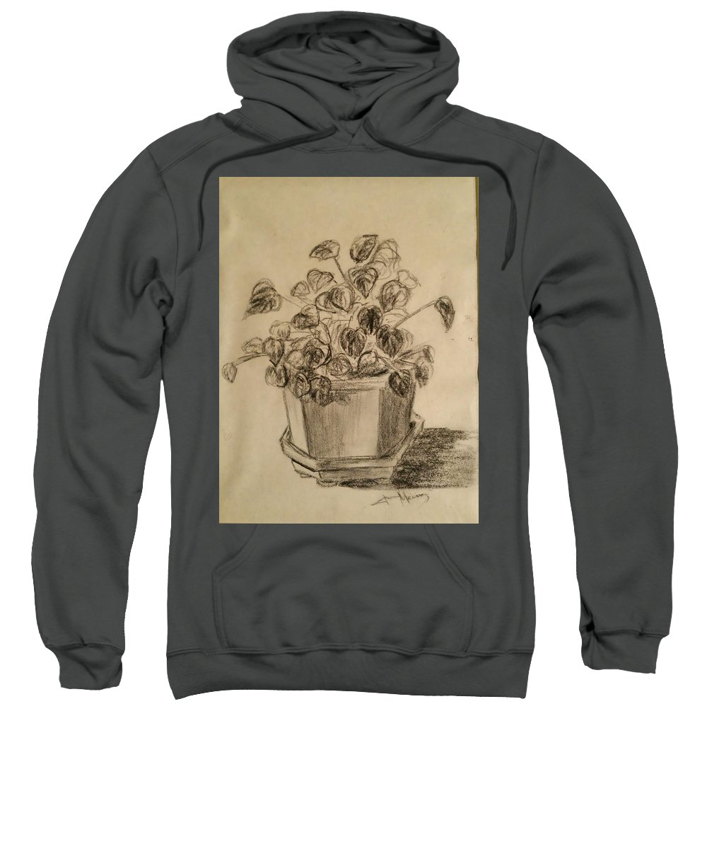 Sweatshirt featuring the drawing Charcoal Planter by Jan Marie