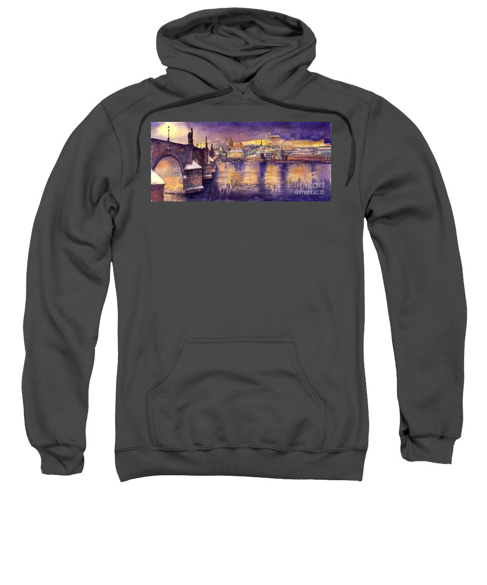 Cityscape Sweatshirt featuring the painting Charles Bridge and Prague Castle with the Vltava River by Yuriy Shevchuk