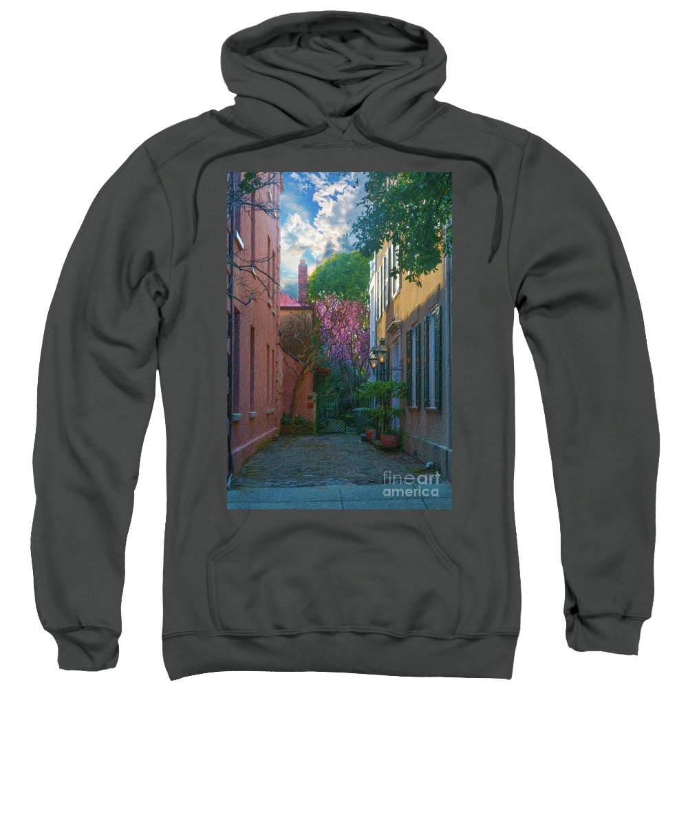 Alley Sweatshirt featuring the painting Charleston Alley In The Spring by Dale Powell