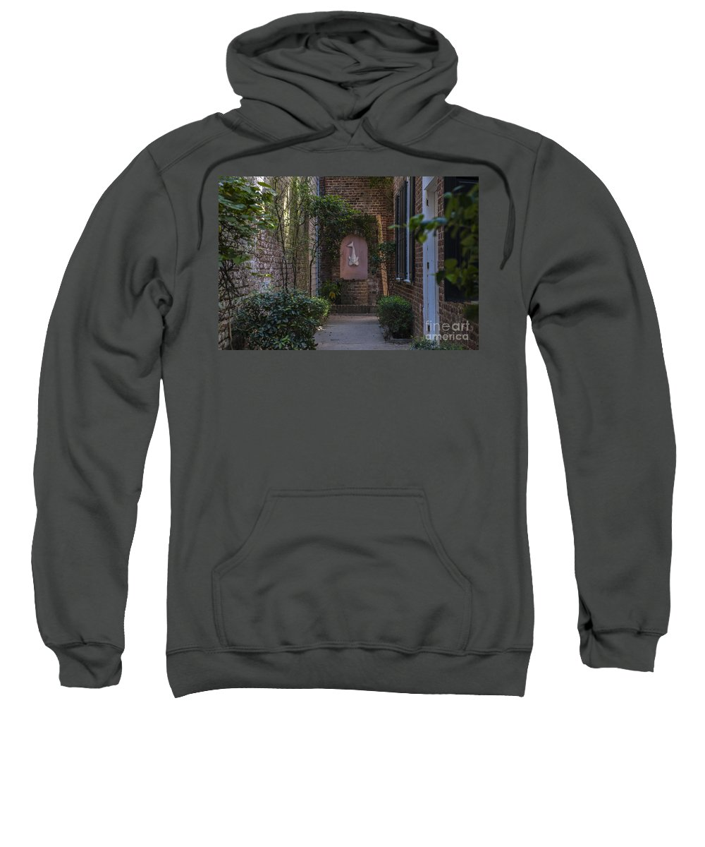 Alley Sweatshirt featuring the photograph Charleston Brick Alley by Dale Powell