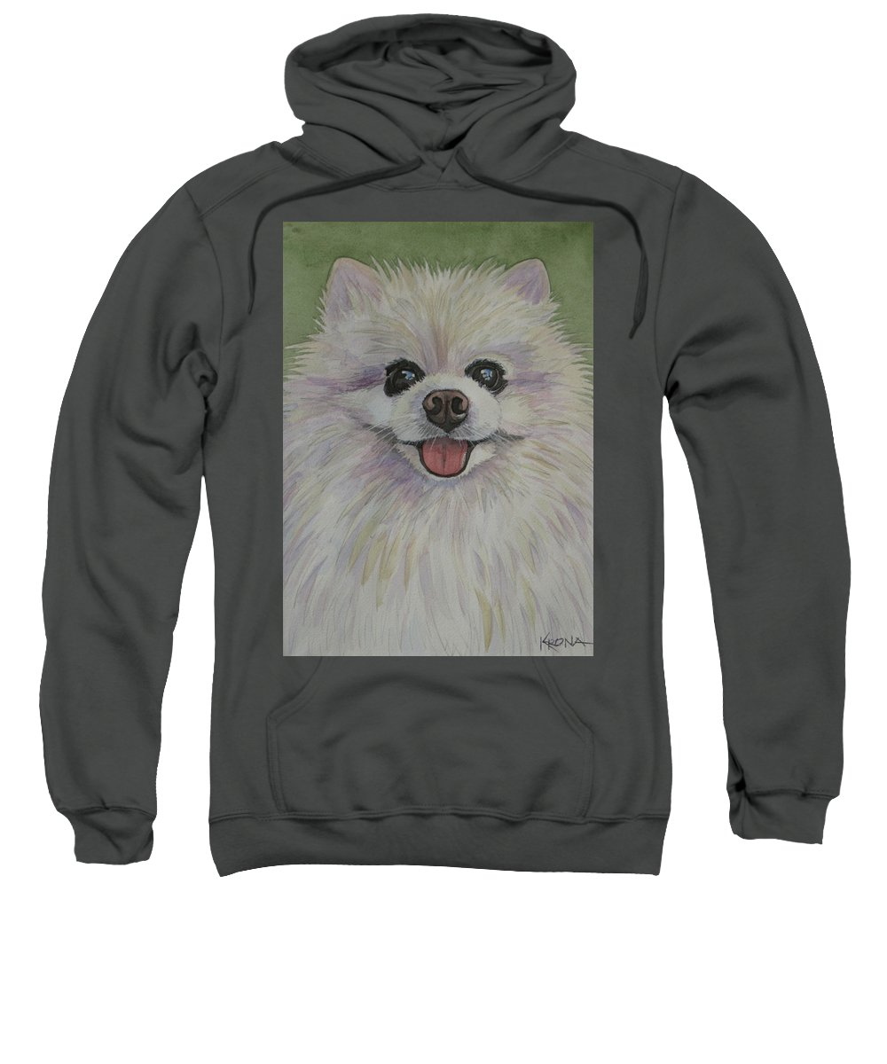 Pet Portrait Custom Dog Furry Friend Memorial Pomeranian Sweatshirt featuring the painting Chaz by Mike Krona