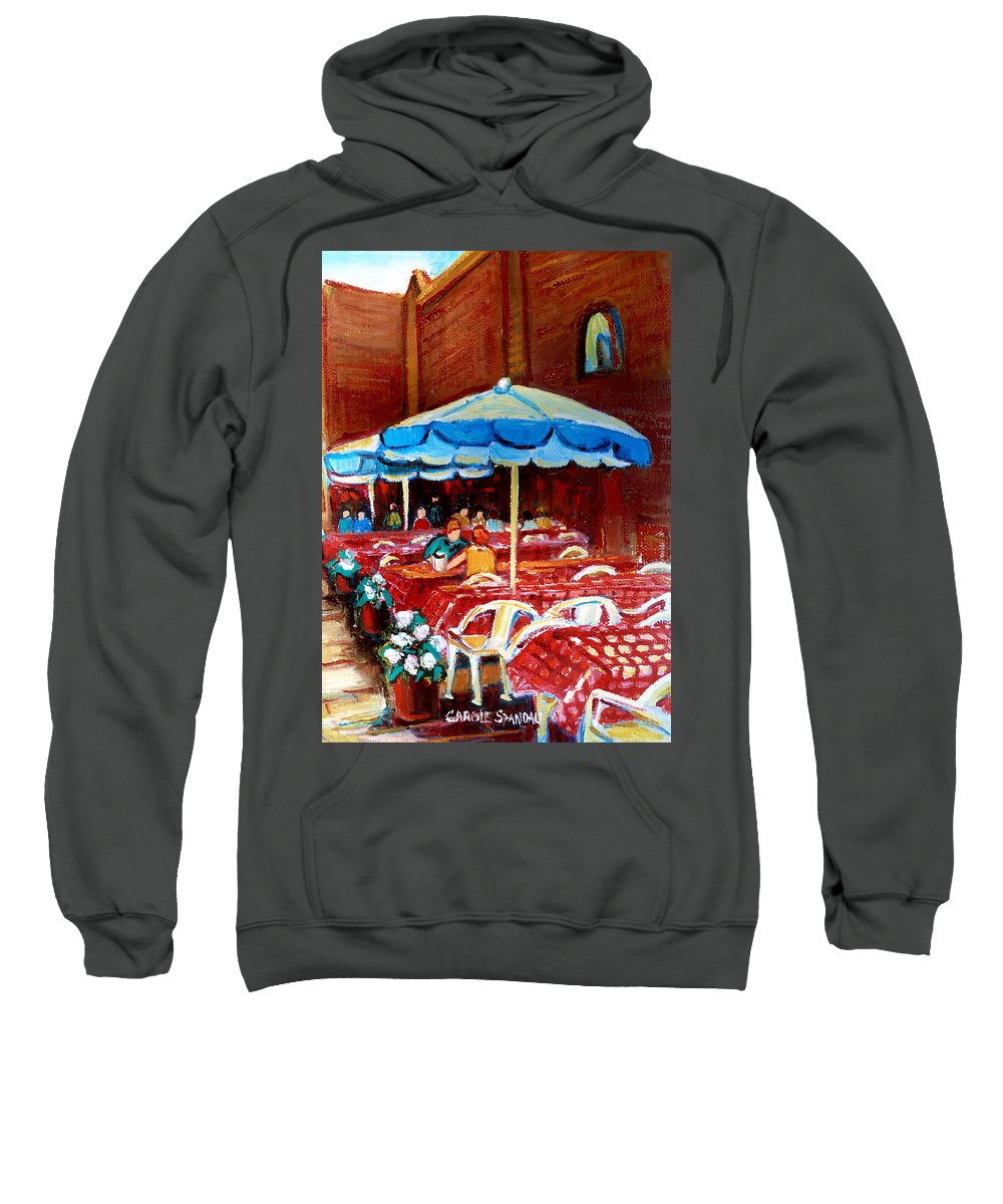 Montreal Sweatshirt featuring the painting Checkered Tablecloths by Carole Spandau