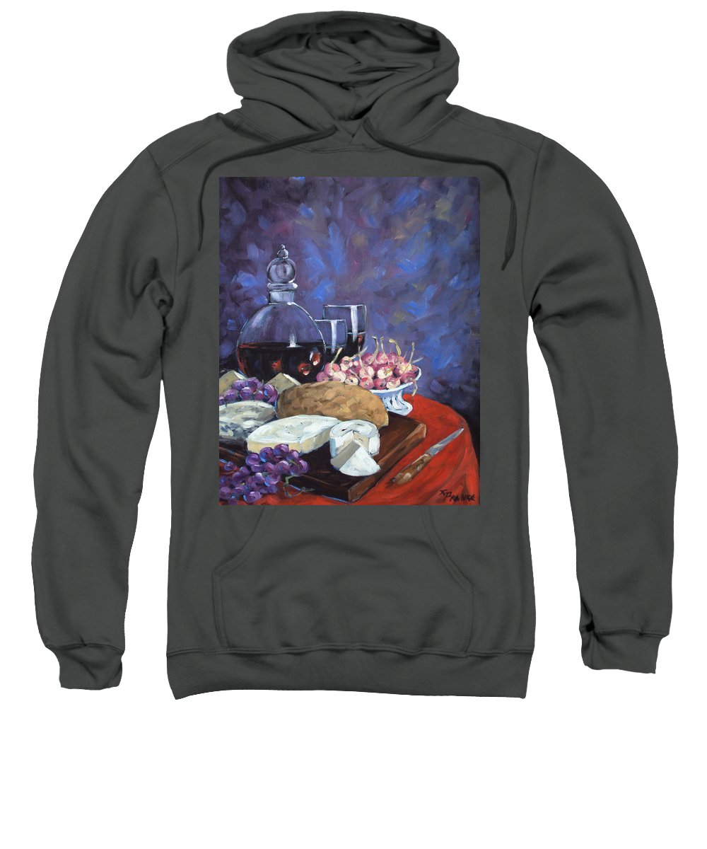 Cheese Sweatshirt featuring the painting Cheese And Good Wine by Richard T Pranke