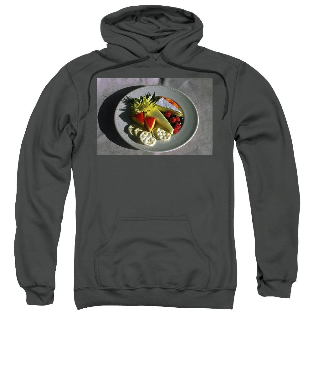 Cheese Sweatshirt featuring the photograph Cheese Wedges With Crackers And Fruit by Sally Weigand