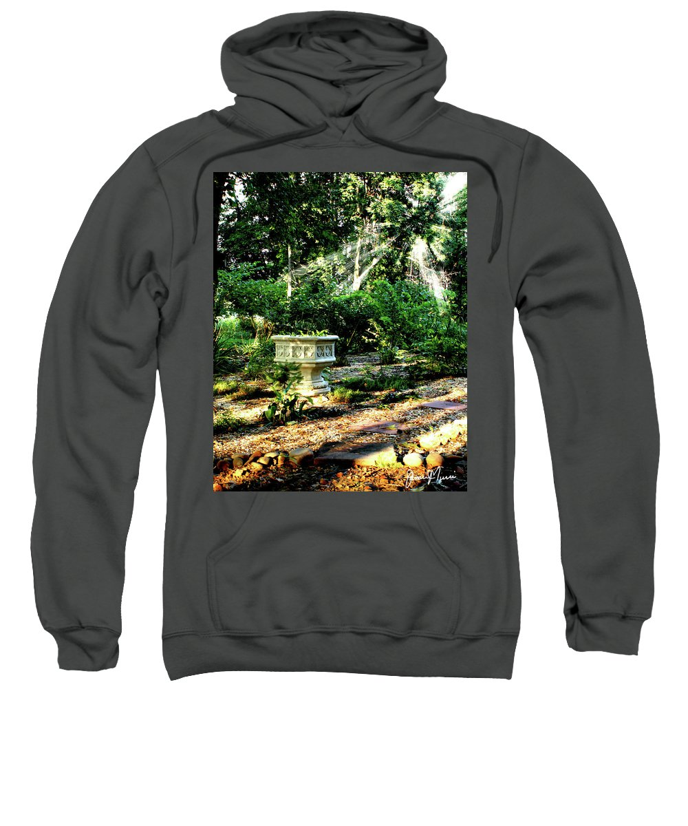 Outdoor Scene Sweatshirt featuring the photograph Cherie's Garden by Jim Turri