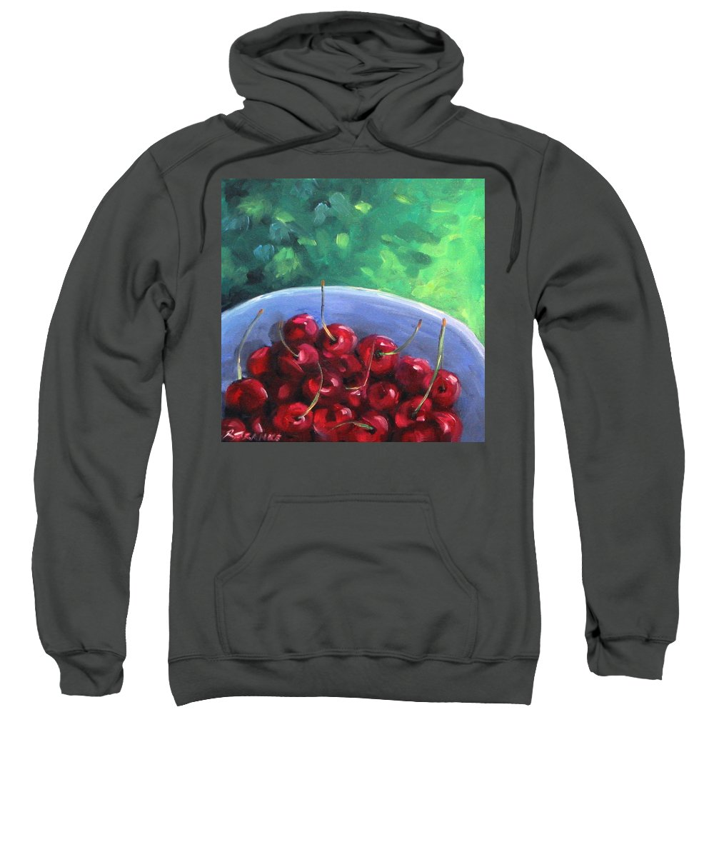 Art Sweatshirt featuring the painting Cherries On A Blue Plate by Richard T Pranke