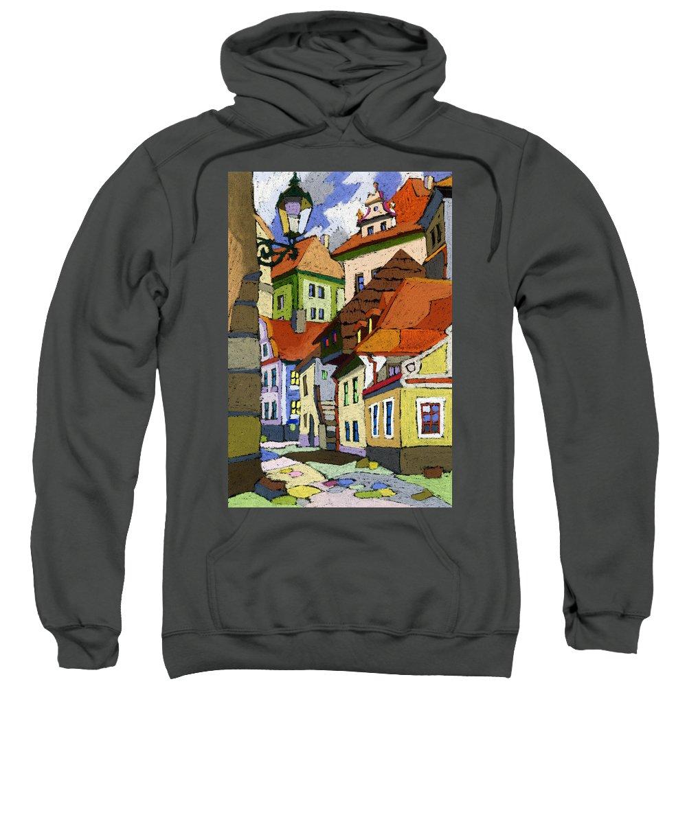Pastel Sweatshirt featuring the painting Chesky Krumlov Masna Street 1 by Yuriy Shevchuk