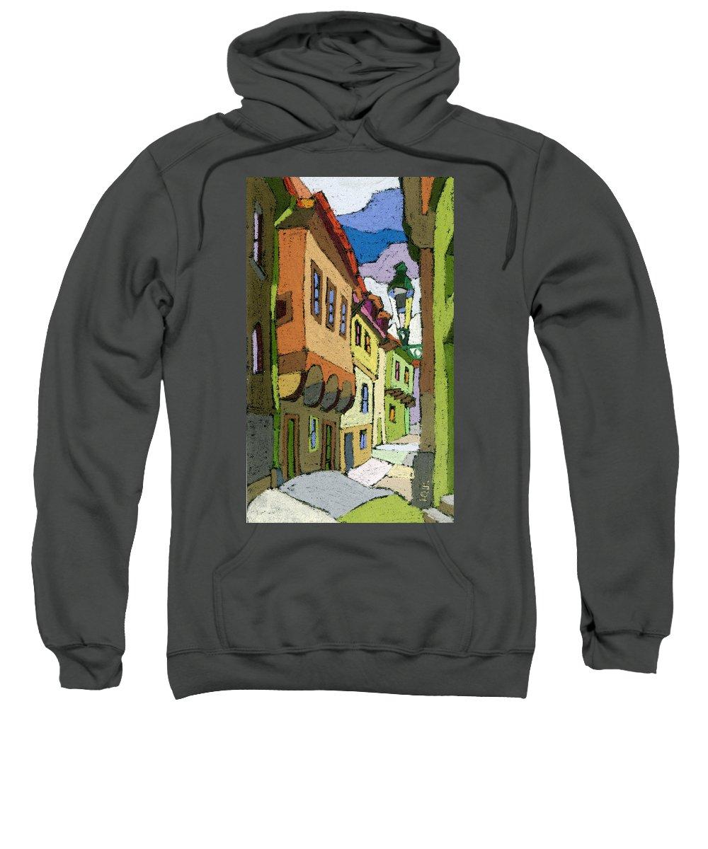 Pastel Sweatshirt featuring the painting Chesky Krumlov Street Nove Mesto by Yuriy Shevchuk