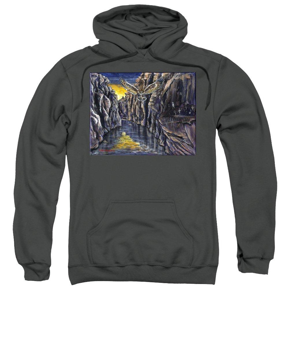 Acrylic Sweatshirt featuring the painting Chevlon Canyon Owl by Liz Nichols