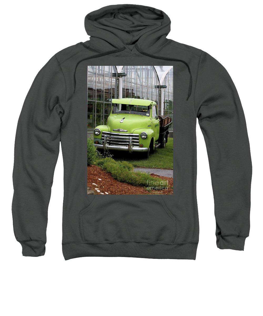 Taken In Vermont At The Nursery I Used To Go To. Sweatshirt featuring the photograph Chevrolet Old by Deborah Benoit