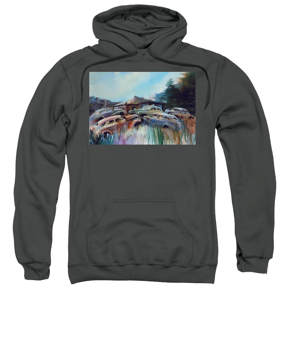 Chevs Sweatshirt featuring the painting Chevs On The Slide by Ron Morrison
