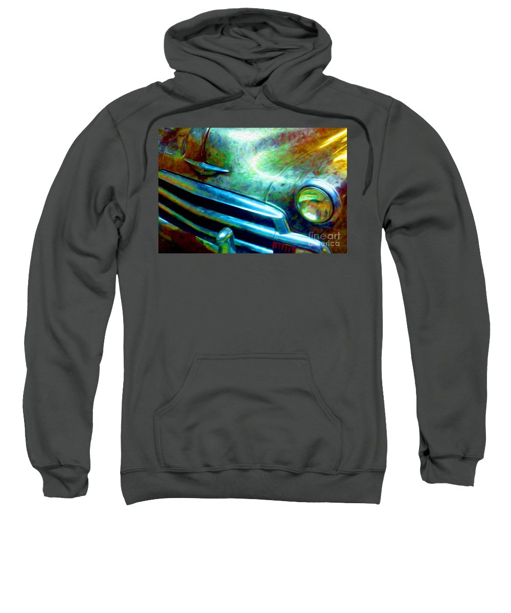 Paintings Photos Drawings Digital Art Mixed Media Paintings Illustrations Photographs Digital Artist Abstract Architecture Fantasy Impressionism Landscape Portraits Science Fiction Still Life Surrealism Editorial Satire Statement Nature Artificial Mechanical Organic Environment Dream Sweatshirt featuring the mixed media 1953 Bel Air Chevy Project 2 by Kevin Keeling