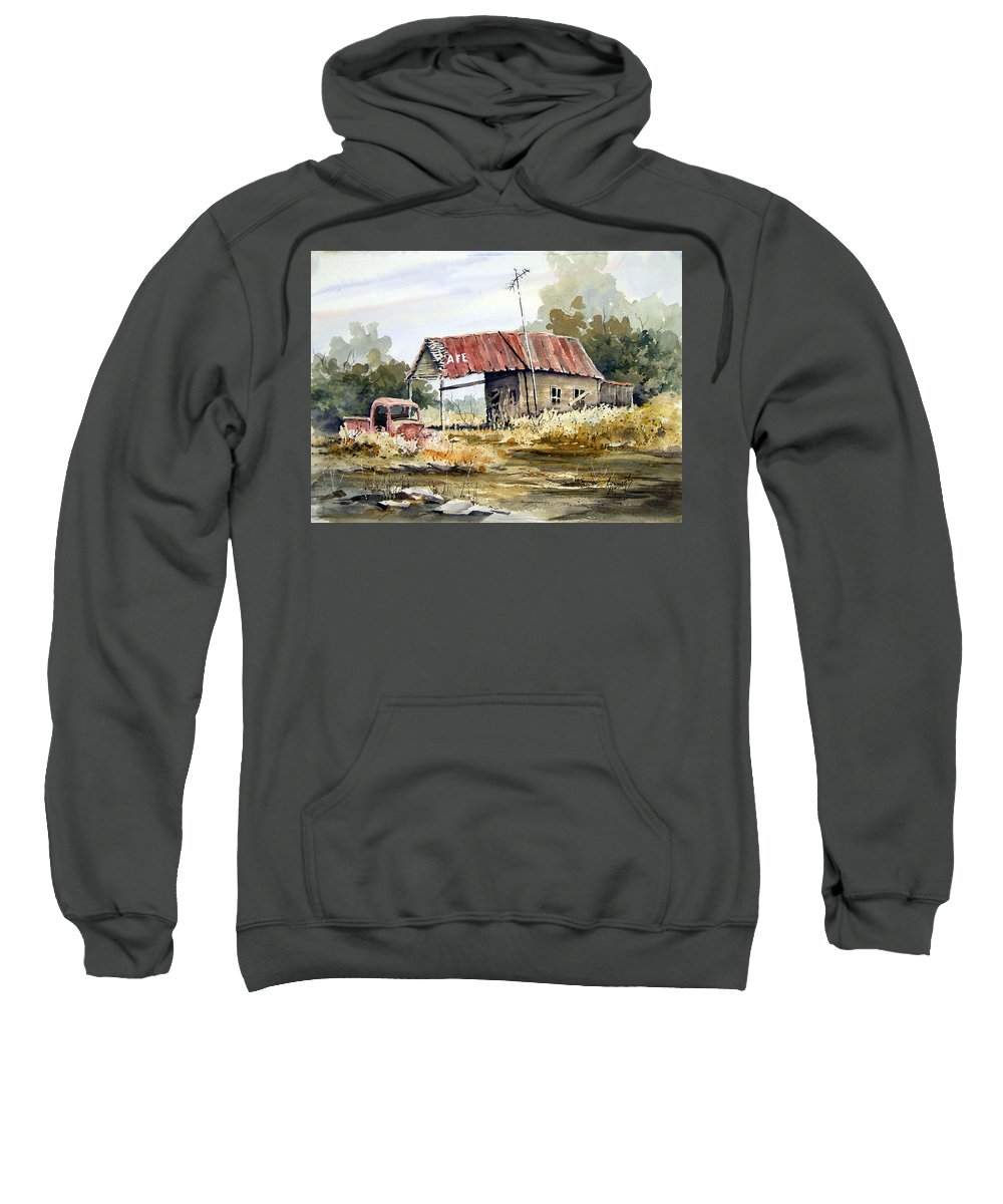 Rural Sweatshirt featuring the painting Cheyenne Valley Station by Sam Sidders