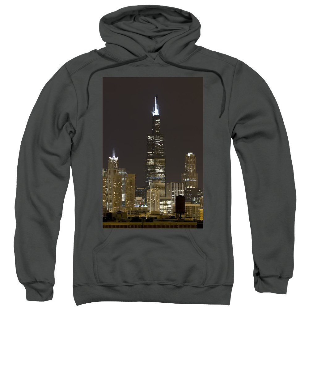 City Sky Skyline Wind Windy Windycity Il Chicago Night Dark Light Lights Street Building Tall House Sweatshirt featuring the photograph Chicago At Night by Andrei Shliakhau