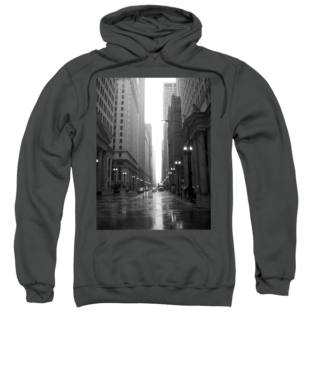 Chicago Sweatshirt featuring the photograph Chicago In The Rain 2 B-w by Anita Burgermeister