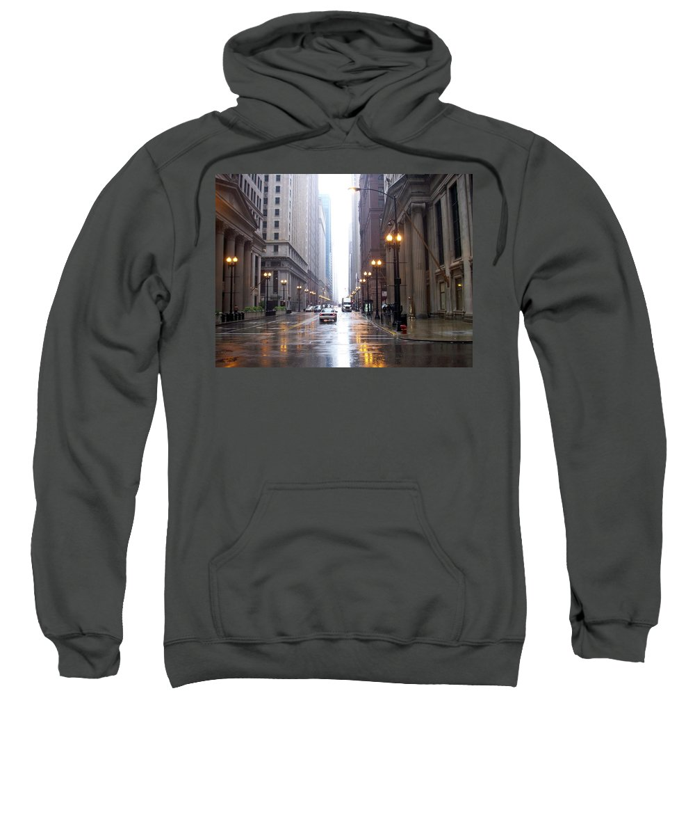 Chicago Sweatshirt featuring the photograph Chicago In The Rain by Anita Burgermeister