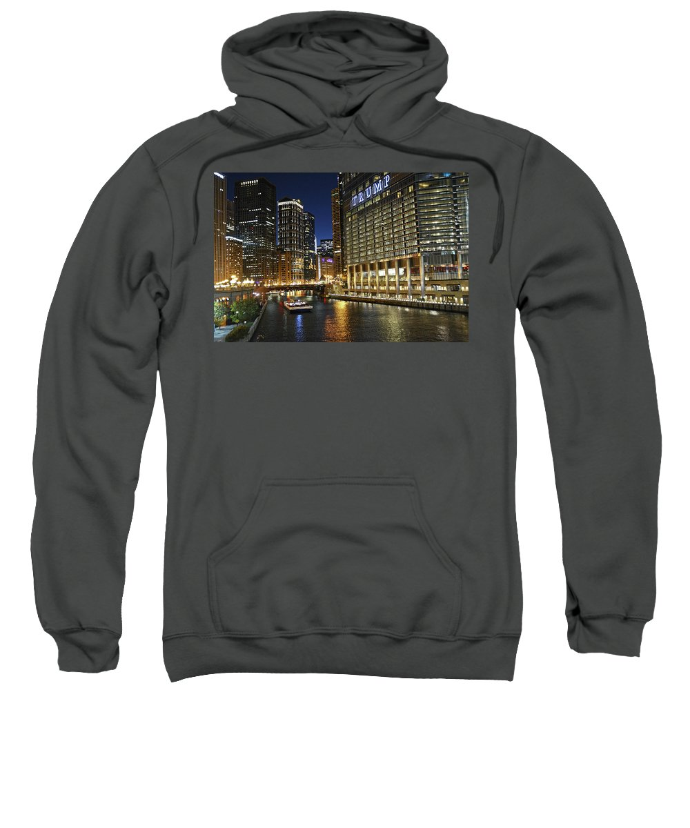 Chicago Sweatshirt featuring the photograph Chicago Night Lights by M Bernardo