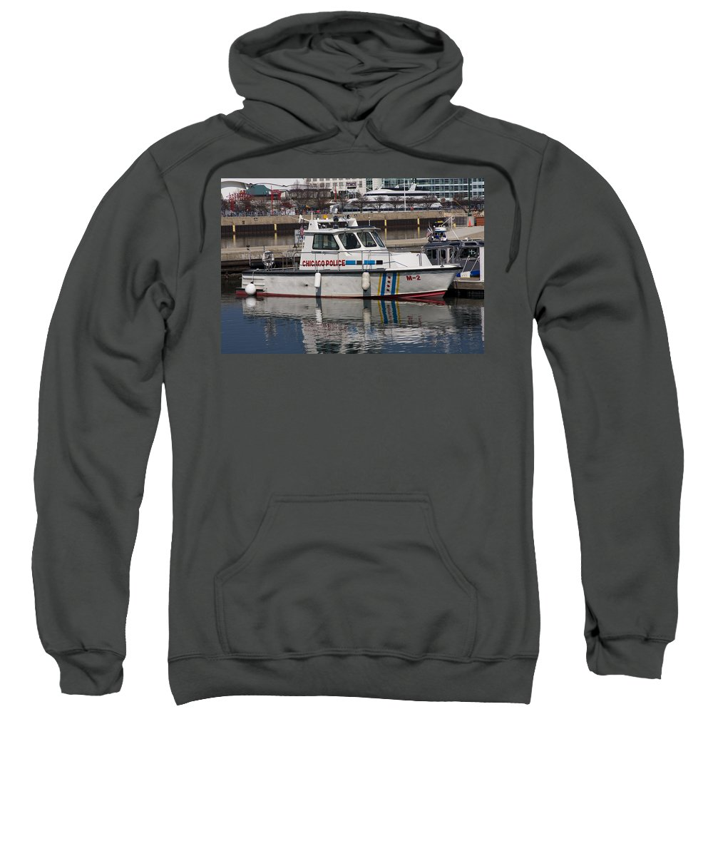 Chicago Police Windy City Water Lake Michigan Reflection Boat White Blue Sweatshirt featuring the photograph Chicago Police by Andrei Shliakhau