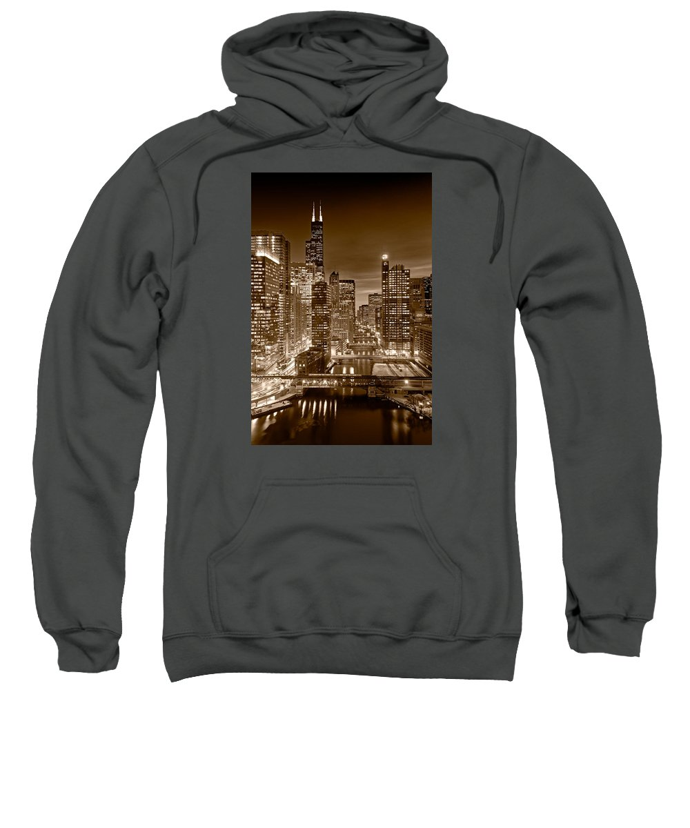 Boeing Sweatshirt featuring the photograph Chicago River City View B And W by Steve gadomski