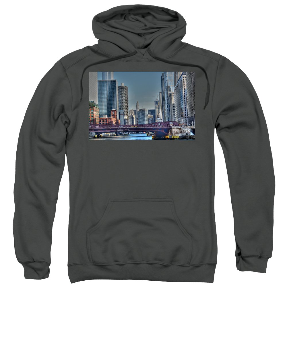 Chicago Illinois Sweatshirt featuring the photograph Chicago River East by David Bearden