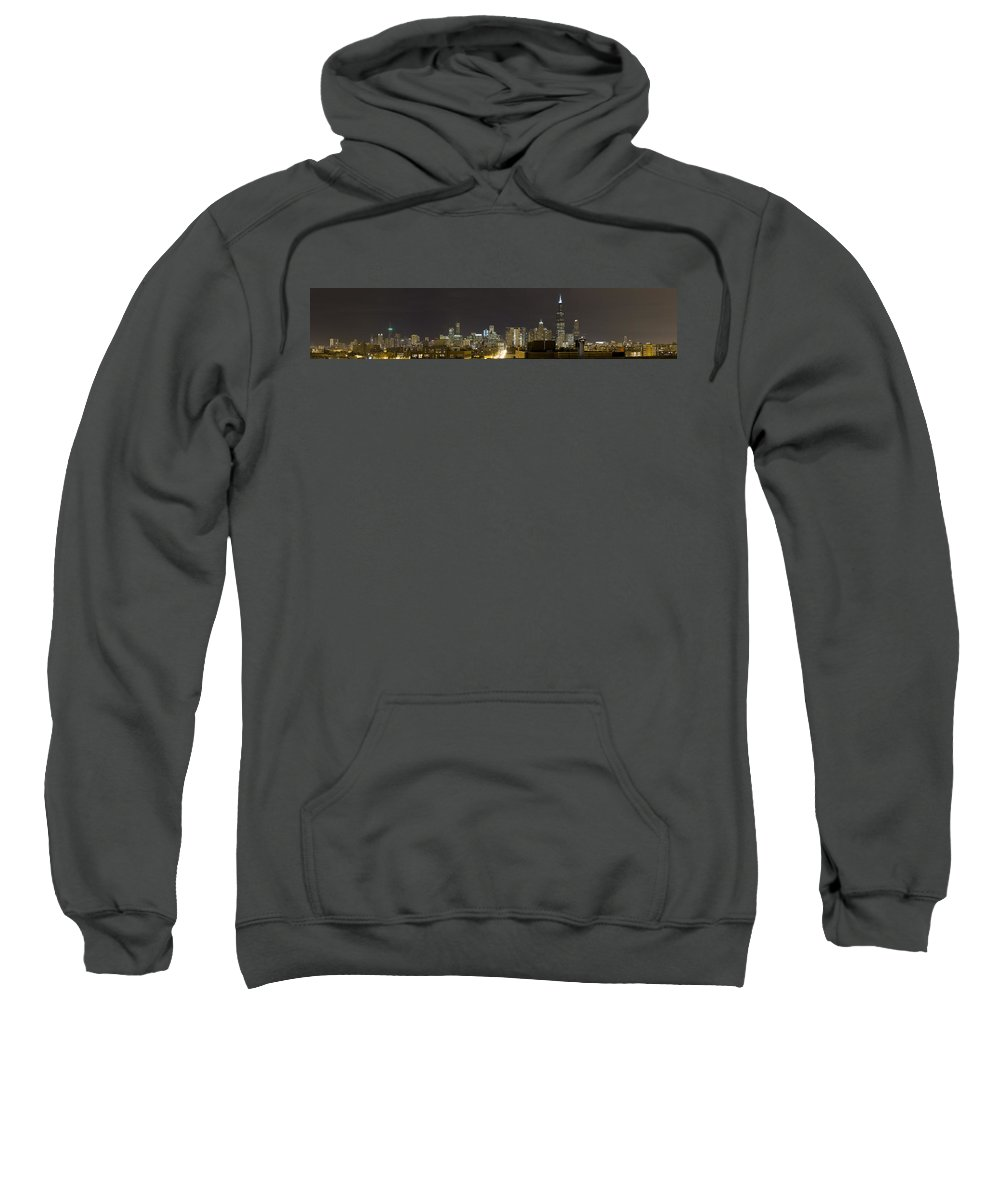 City Sky Skyline Wind Windy Windycity Il Chicago Night Dark Light Lights Street Building Tall House Sweatshirt featuring the photograph Chicago Skyline by Andrei Shliakhau