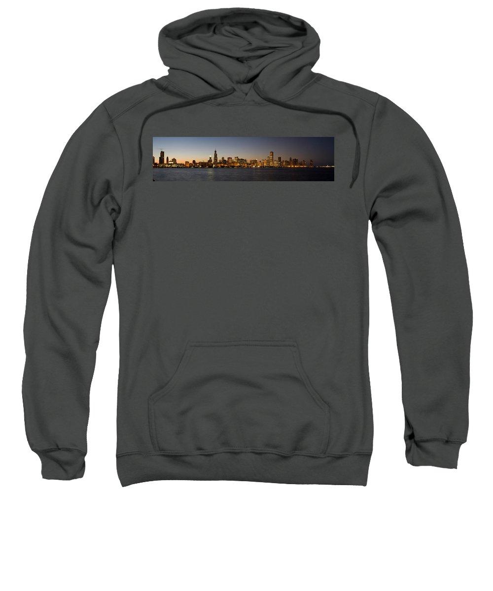 Chicago Sweatshirt featuring the photograph Chicago Skyline Panorama by Steve Gadomski