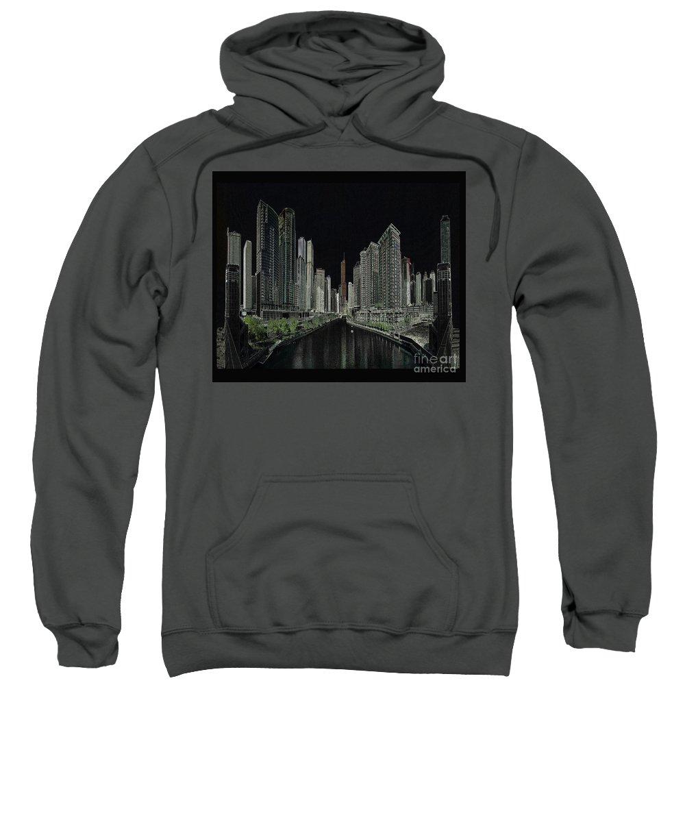 Chicago Sweatshirt featuring the digital art Chicago by Steven Parker