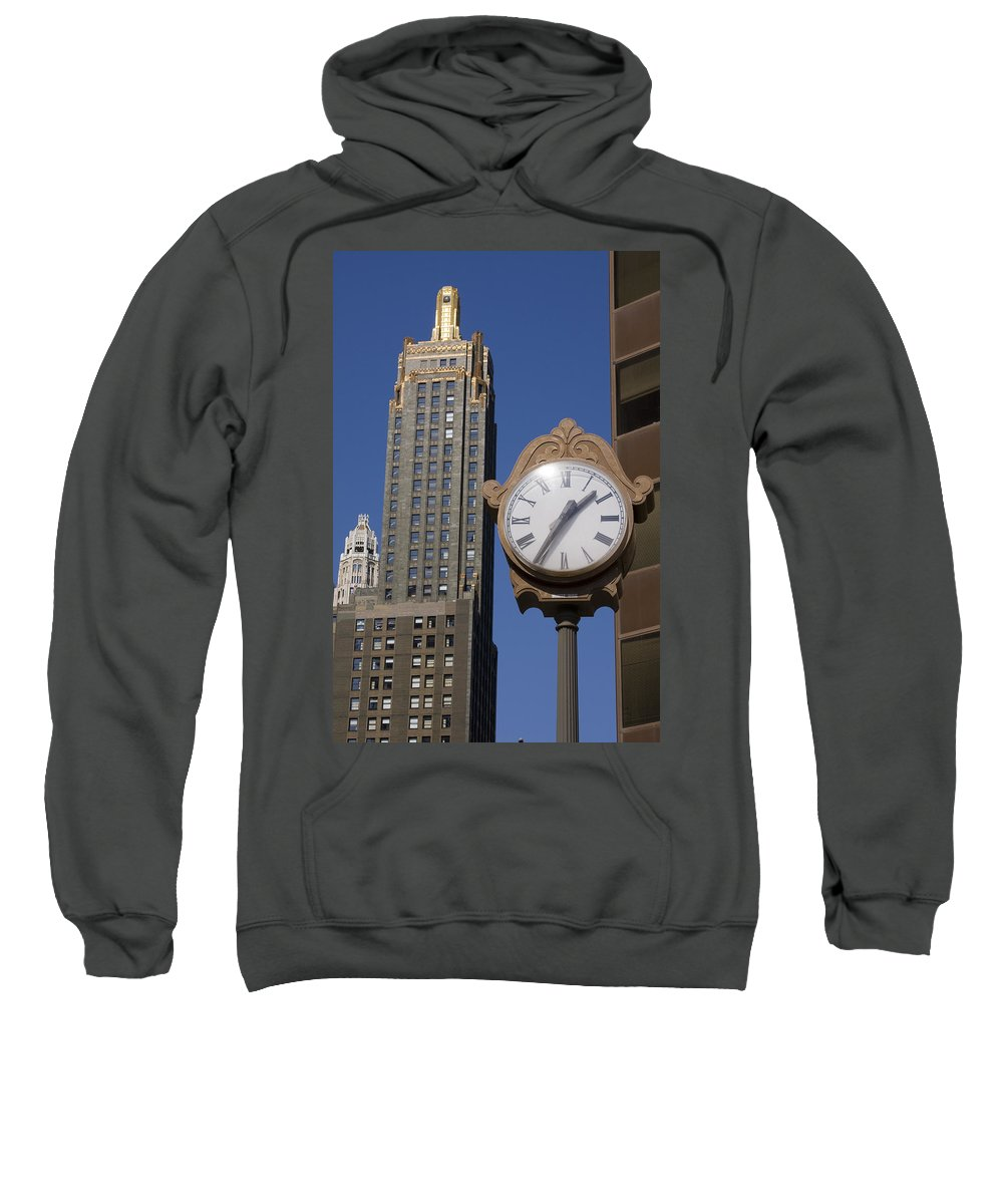 Chicago City Windy Wind Blue Sky Clock Time Building Tall High Big Gold Sun Sunny Metro Urban Sweatshirt featuring the photograph Chicago Time by Andrei Shliakhau